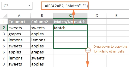 Excel: Compare Two Columns For Matches And Differences pertaining to Excel Compare Two Lists 38114