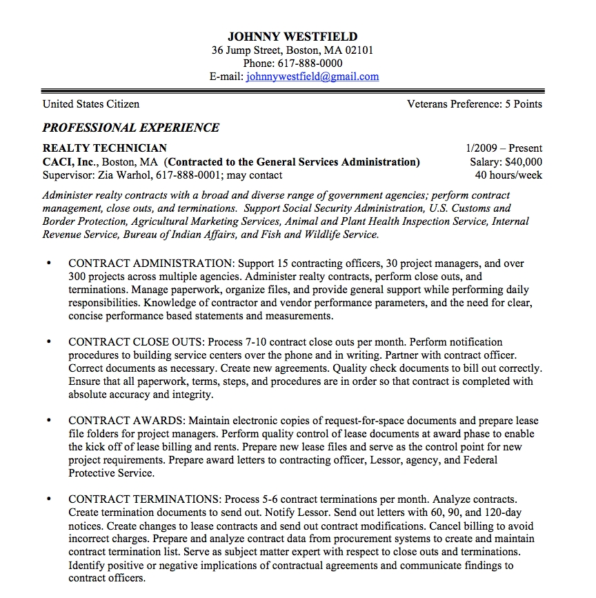 Federal Resume Sample And Format - The Resume Place with Usajobs Sample Resume 57705