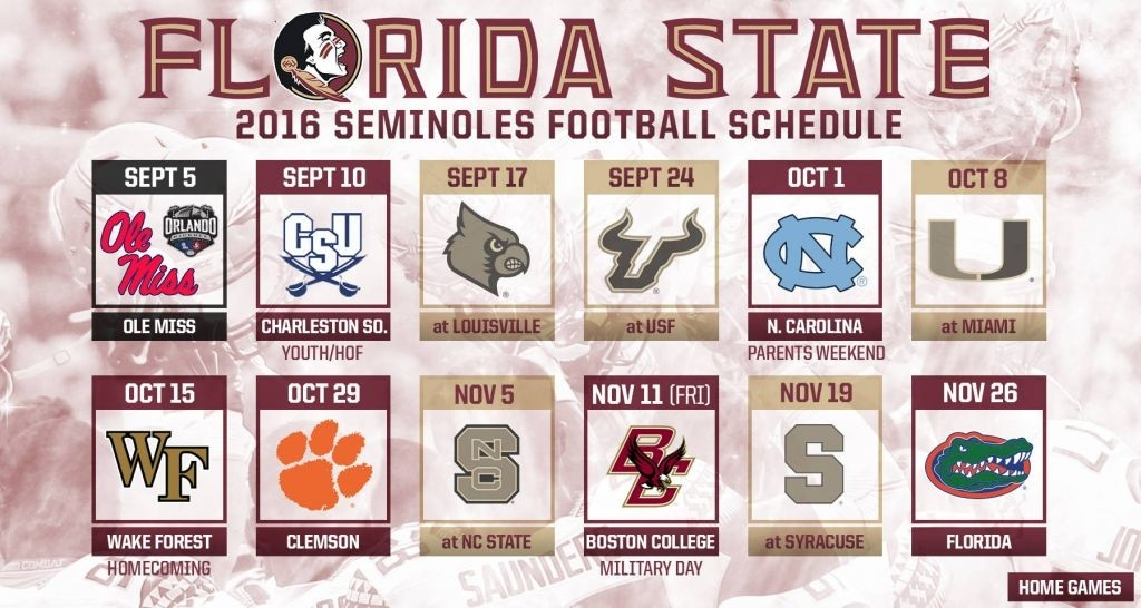 Florida State Reveals 2016 Football Schedule within Fsu 2016 Football Schedule 48319