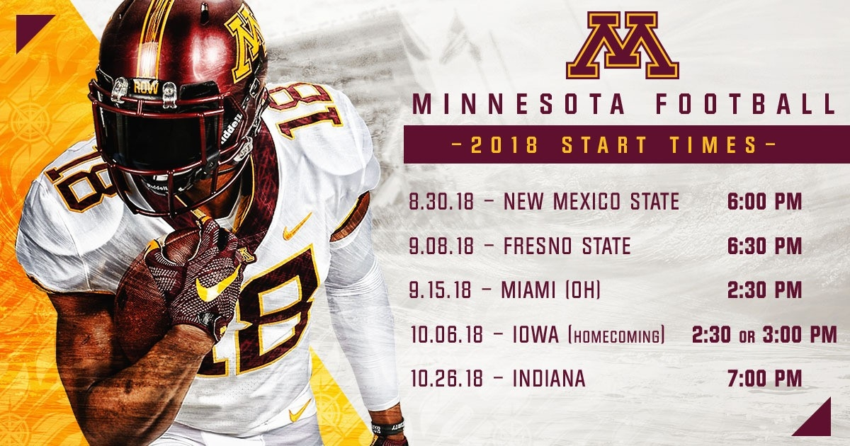 Gophers Announce Start Times For Five Games - University Of for Gopher Football Schedule 47037