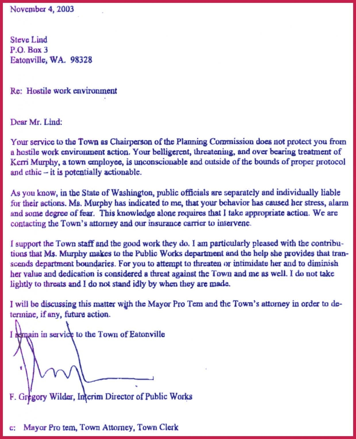 Hostile Work Environment Complaint Letter Template Samples | Letter with regard to Examples Of Hostile Work Environment 56569