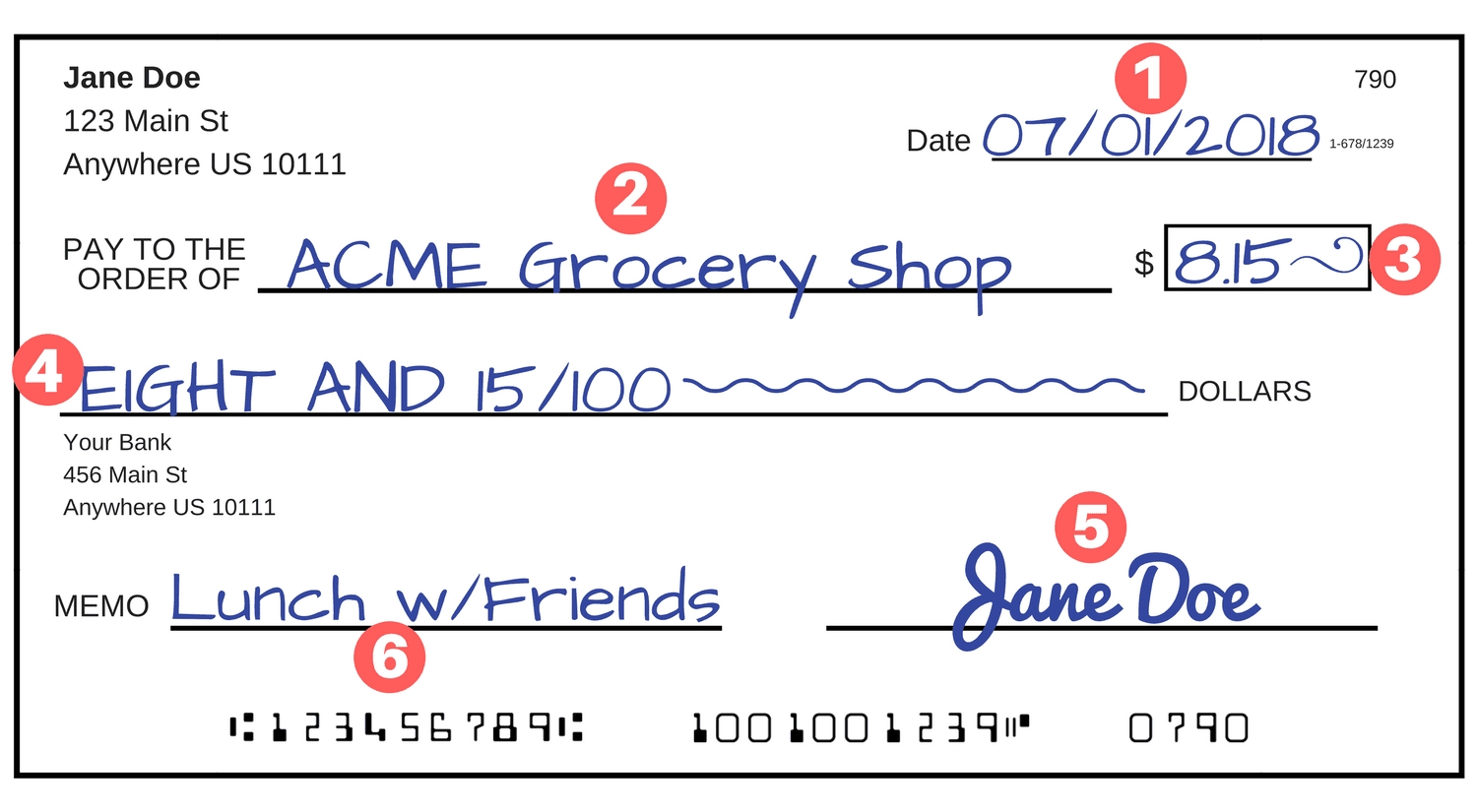 How To Write A Check - A Step-By-Step Explanation inside Examples Of Checks 58557