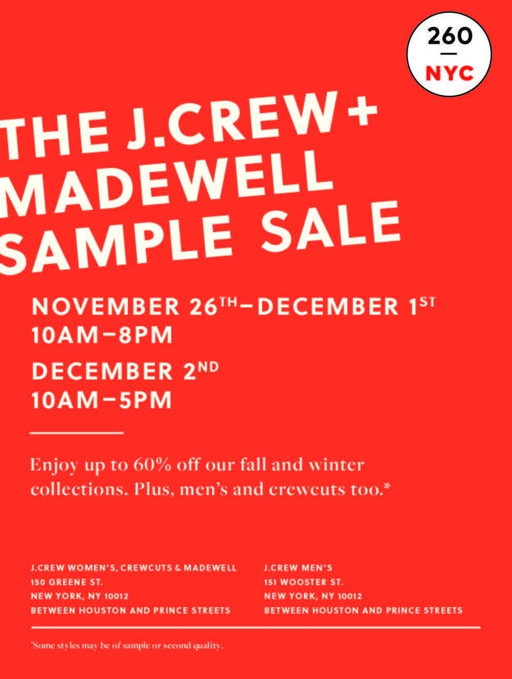 J.crew + Madewell Sample Sale — 260 Nyc pertaining to Men's Sample Sales Nyc 58680