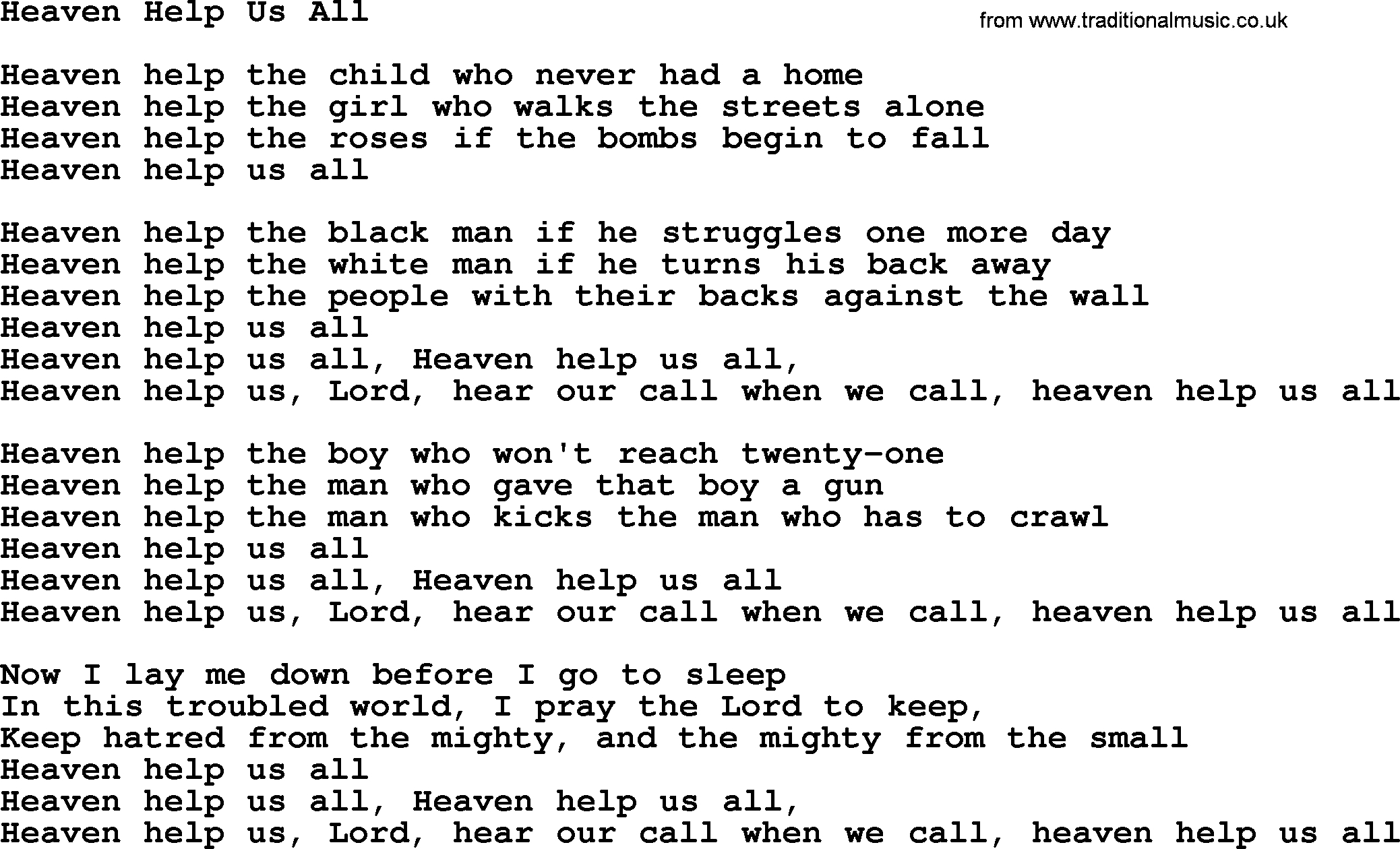 Heaven Help Us Lyrics | Examples and Forms