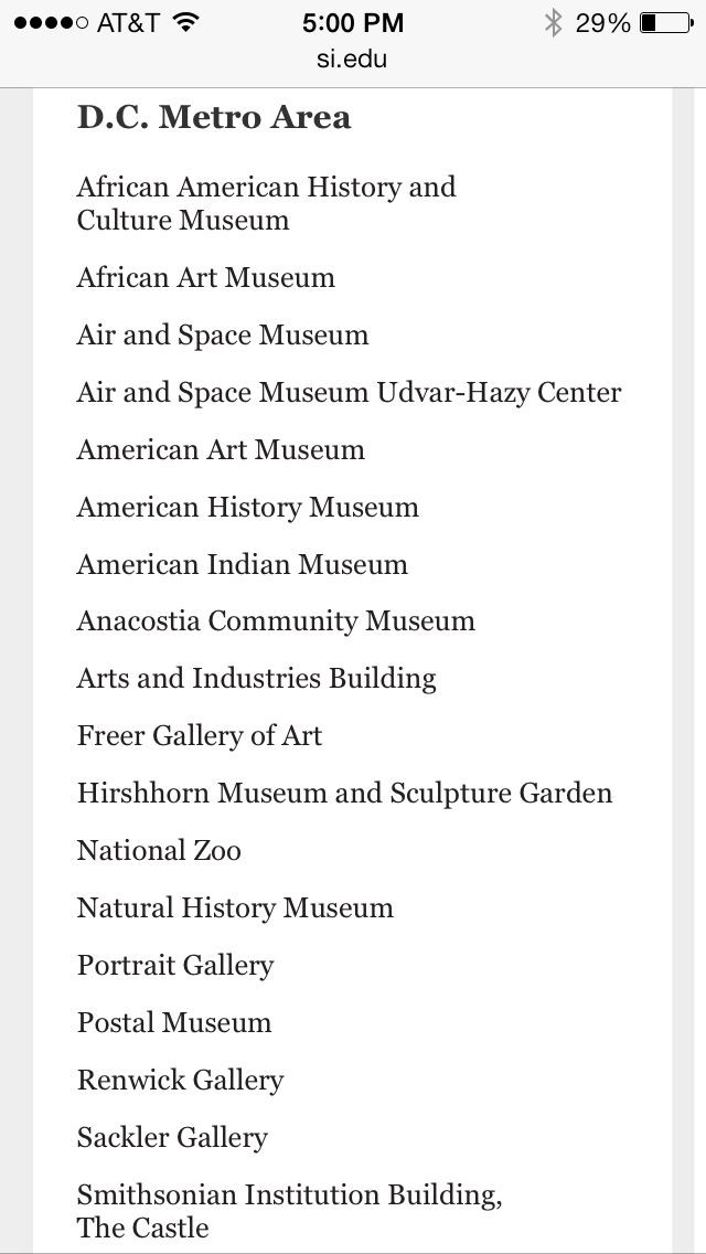 List Of Smithsonian Museums-Washington, Dc | Washington Dc pertaining to List Of Smithsonian Museums 36759