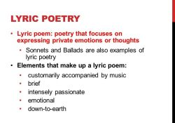Lyric Poetry 12 Cp English Hack. Get Out Your Lyric Poem Example… If for Examples Of Lyric Poems