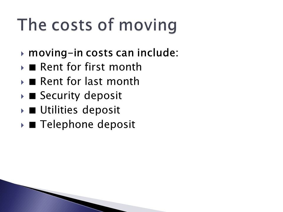 Moving-In Costs Can Include:  □ Rent For First Month  □ Rent in Help With First Month Rent And Deposit 47016