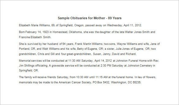 Obituary Template For Mother - 12+ Free Word, Excel, Pdf Format within Sample Obituary For Mother 58086