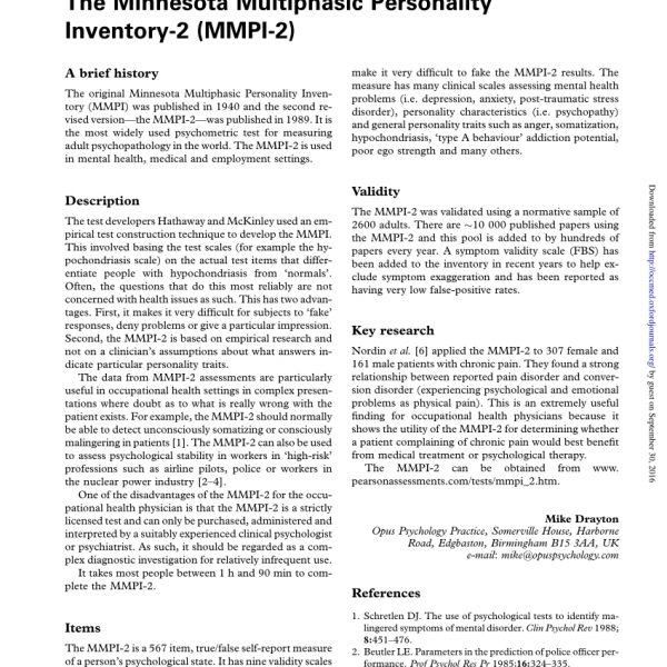 Pdf) The Minnesota Multiphasic Personality Inventory-2 (Mmpi