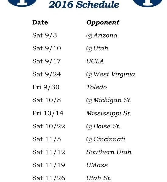 Printable 2016 Byu Cougars Football Schedule | Printable College regarding 2016 Byu Football Schedule