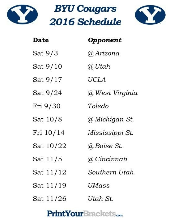 Printable 2016 Byu Cougars Football Schedule | Printable College regarding 2016 Byu Football Schedule 46876