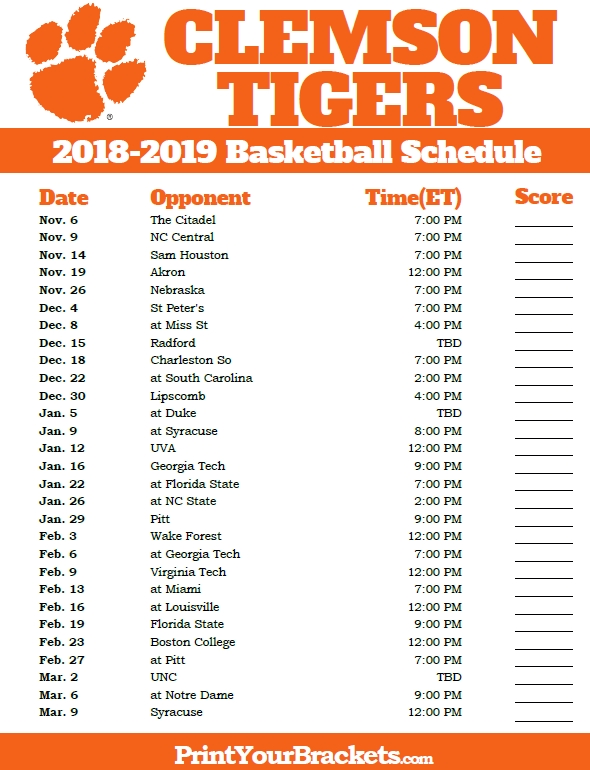 photograph about Unc Basketball Schedule Printable titled Clemson Basketball Routine Illustrations and Kinds