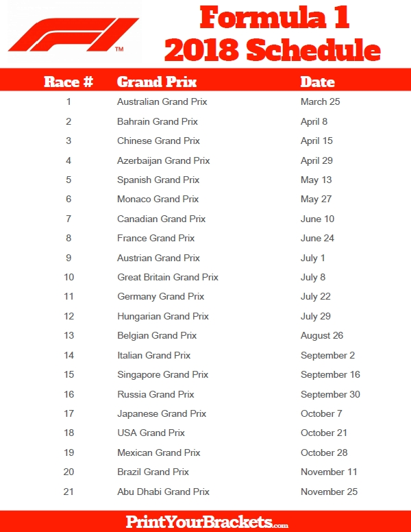 Printable Formula 1 Schedule - F1 Race Dates 2018 intended for F1 Race Schedule 45725