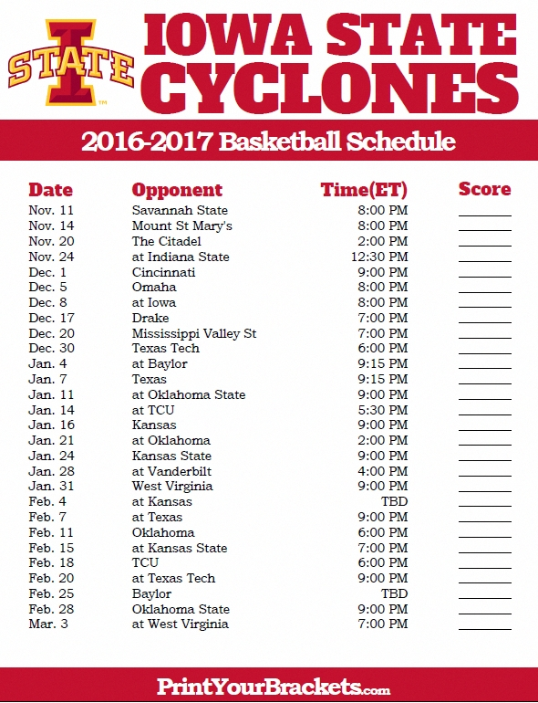 Printable Iowa State Cyclones 2016-2017 College Basketball Schedule regarding Iowa State Basketball Schedule 47663