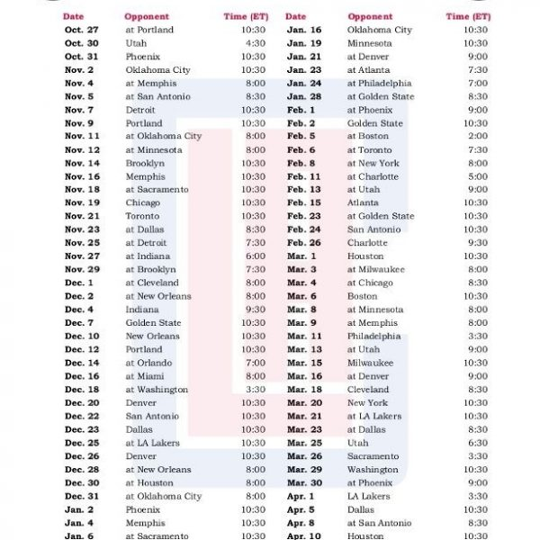 image regarding Lakers Schedule Printable called Printable Los Angeles Clippers Basketball Plan 2016