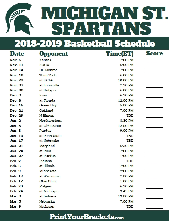Printable Michigan State Spartans 2018-2019 Basketball Schedule with Michigan State Basketball Schedule 45831