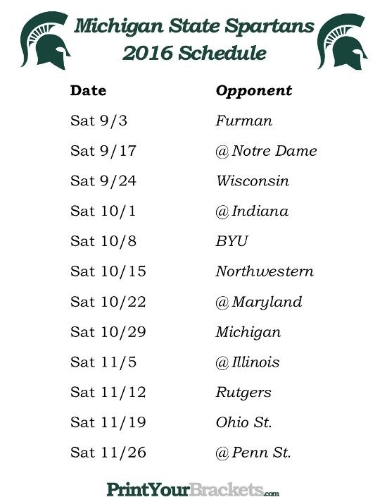 Printable Michigan State Spartans Football Schedule 2016 | Printable intended for Michigan State 2016 Football Schedule 45945