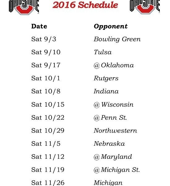 graphic relating to Ohio State Football Schedule Printable named Printable Ohio Place Buckeyes Soccer Routine 2016