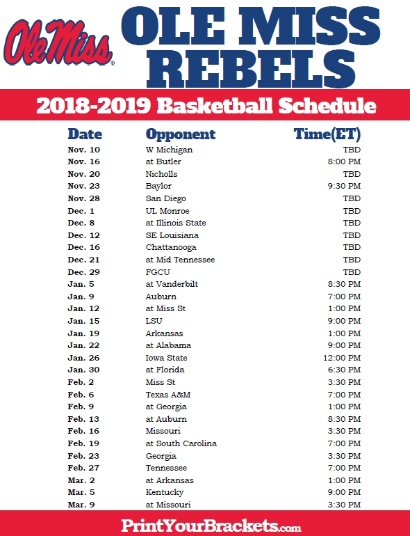 Printable Ole Miss Rebels 2018-2019 Basketball Schedule within Ole Miss Basketball Schedule 45903