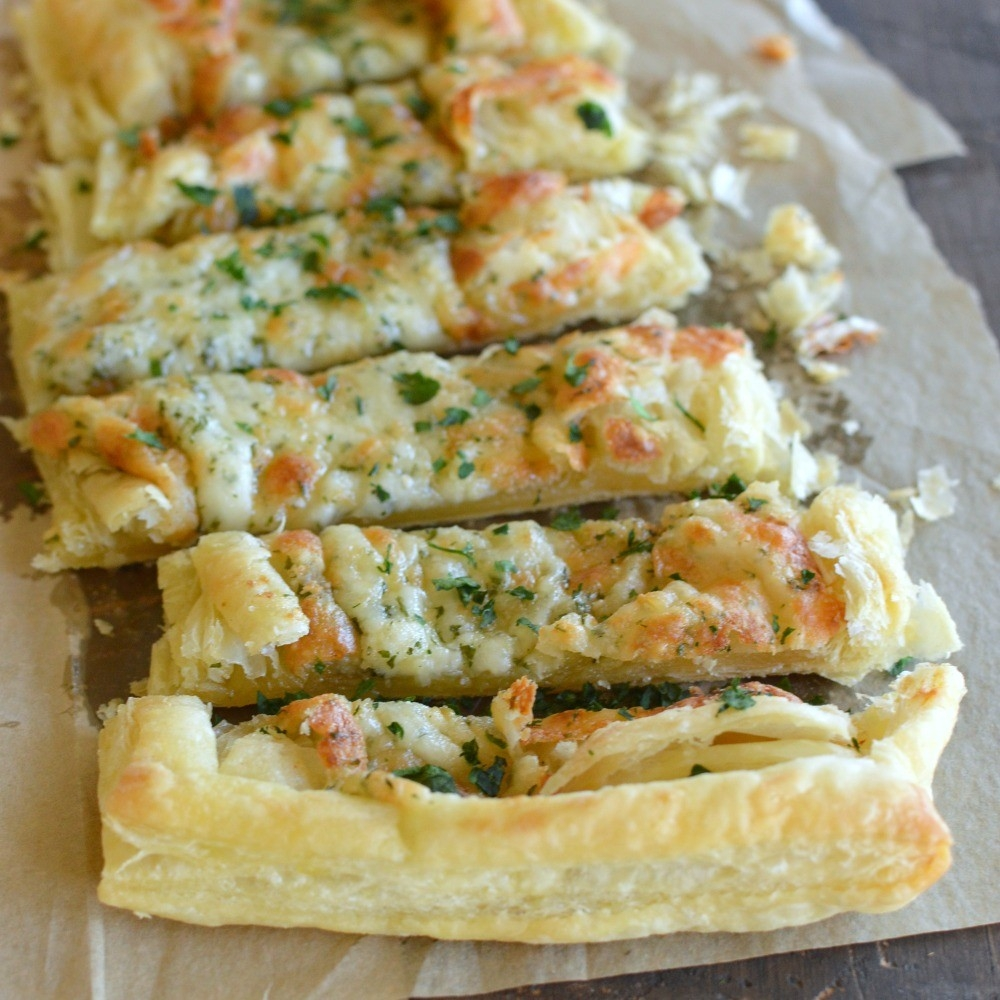 Puff Pastry Cheesy Garlic Bread - Little Dairy On The Prairie for Puff Pastry Recipe Ideas 36276