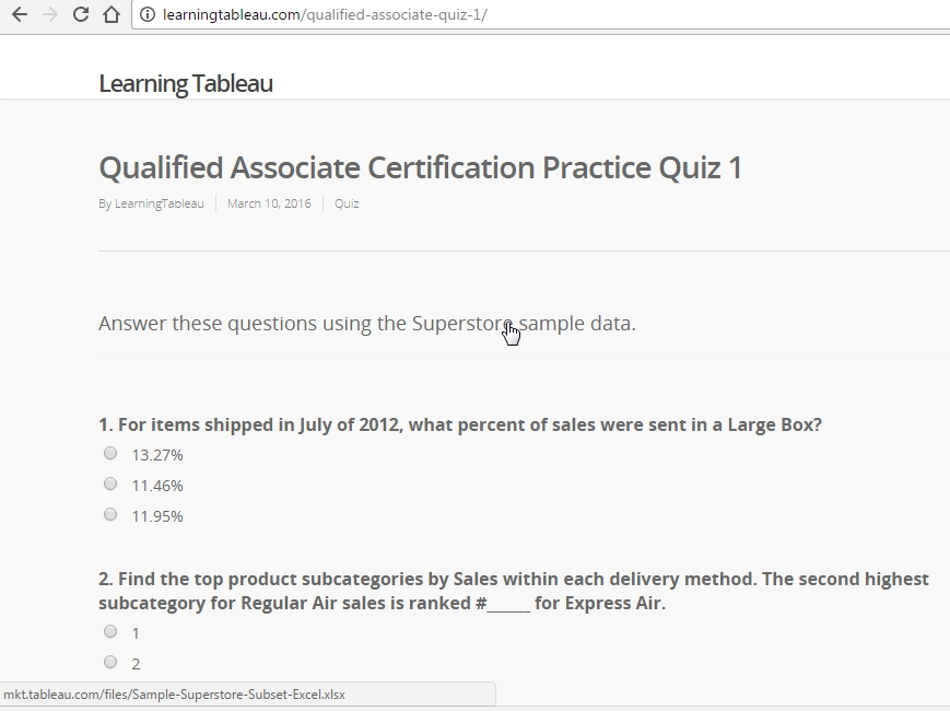 Qualified Associate Practice Questions | Learning Tableau inside Tableau Certification Sample Questions 58362