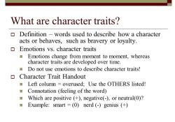 Question Of The Day: 8.6 What Are Character Traits? - Ppt Download regarding Definition Of Character Traits