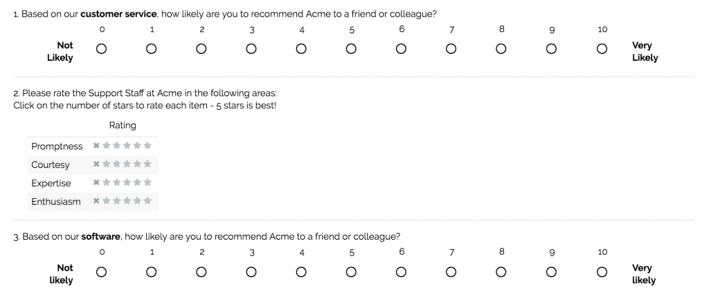 Sample Questions: Customer Satisfaction Surveys pertaining to Example Survey Questions 58806