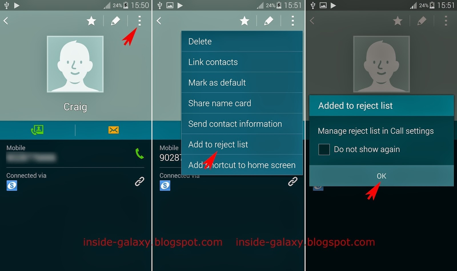 Samsung Galaxy S5: How To Add Or Remove Contact From The Reject List in Call Reject List 37040