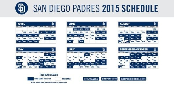"San Diego Padres On Twitter: ""the Padres 2015 Regular Season pertaining to Padres Schedule 2015 46855"