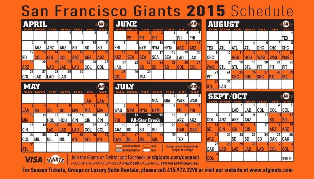 Sf Giants 2015 Schedule (As Of 9/17/14) | Sf Giants & 49Ers throughout Sf Giants Schedule 2015 47043