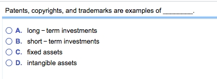Solved: Patents, Copyrights, And Trademarks Are Examples O pertaining to Copyrights And Trademarks Are Examples Of 59586