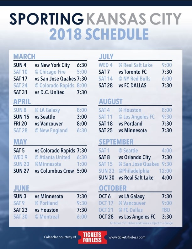 Sporting Kc 2018 Schedule Announced- Tickets For Less inside Sporting Kc Schedule 47989