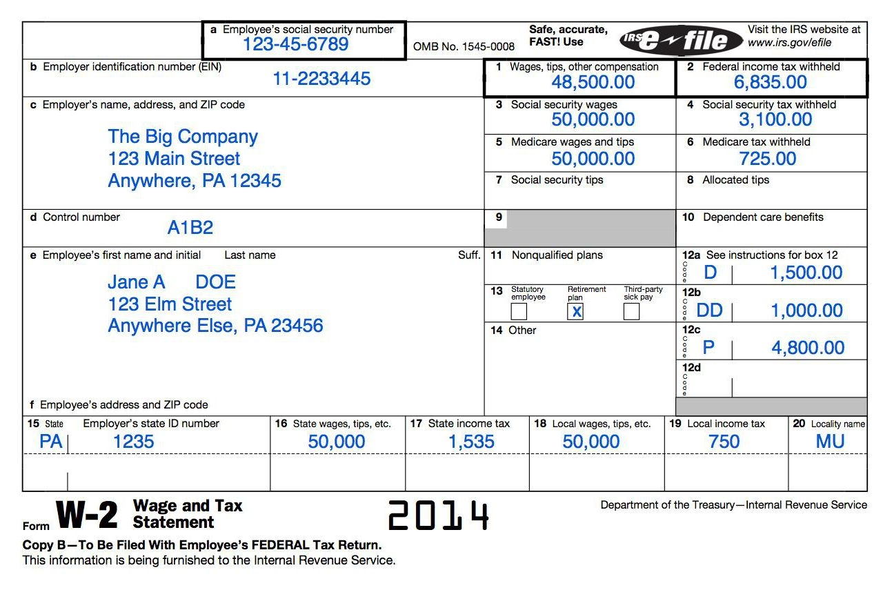 Understanding Your Tax Forms: The W-2 intended for Sample W2 Form 58539