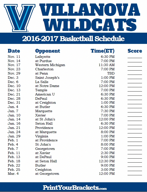 Villanova Wildcats 2016-2017 College Basketball Schedule regarding Villanova Basketball Schedule 48364