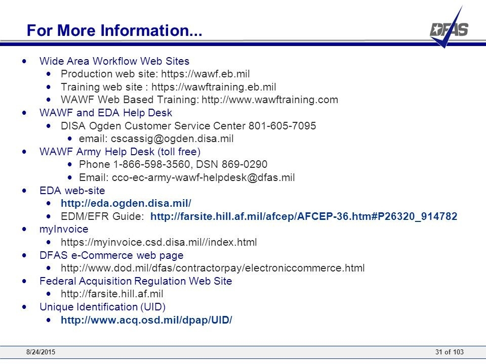 Wide Area Workflow Inspector And Acceptor Training - Ppt Download in Wawf Help Desk 48104
