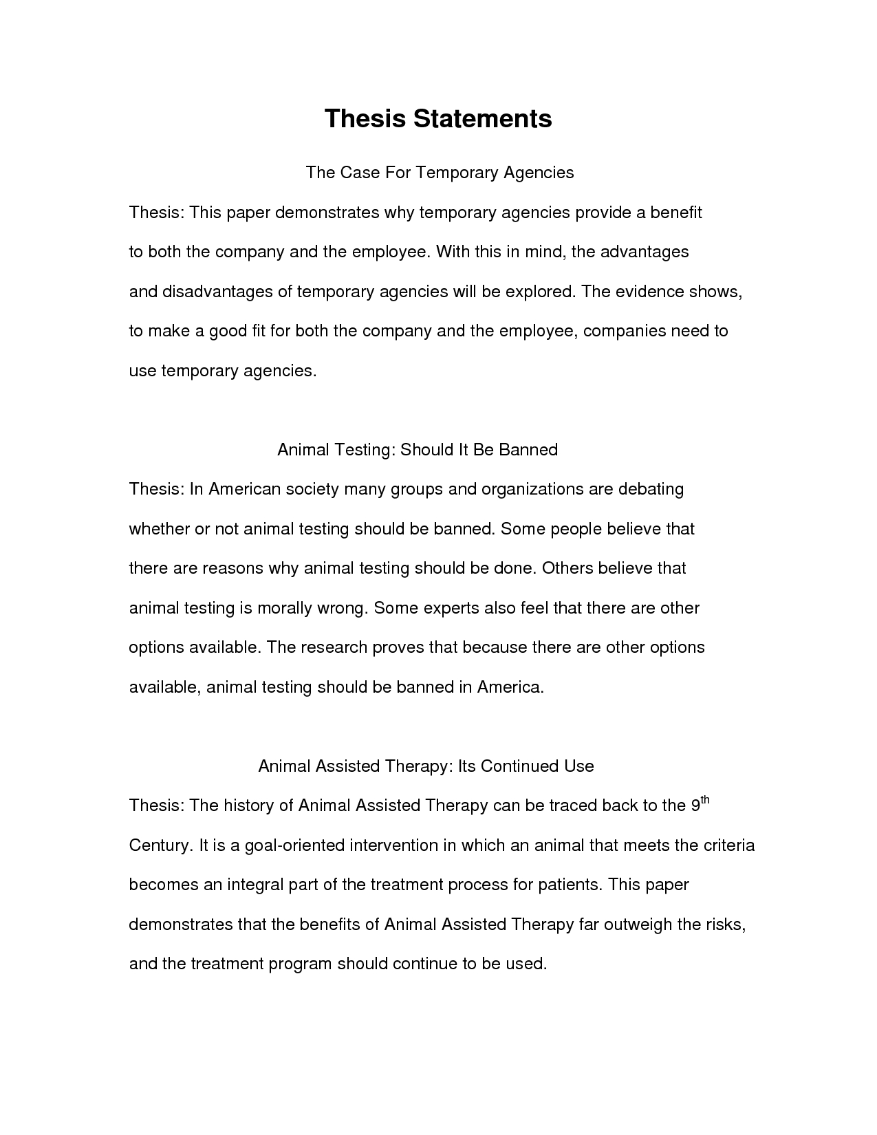 informative thesis statement examples