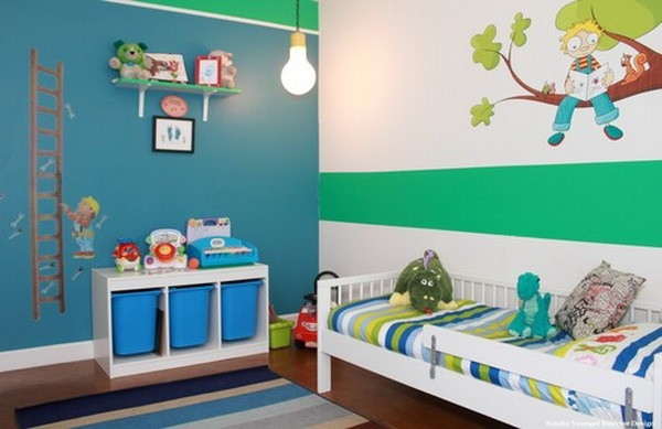 Contemporary Kids Bedroom With Wall Art Decoration - Home Interior intended for Wall Art Ideas For Kids Bedroom