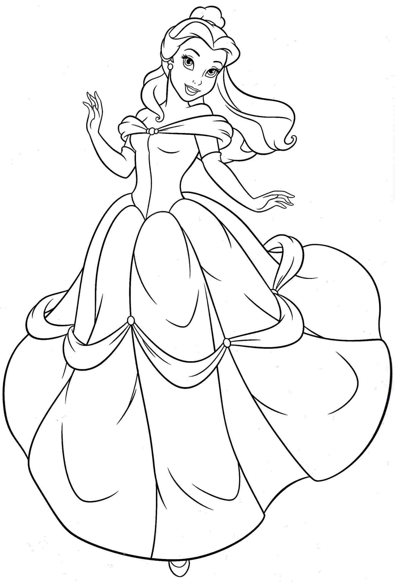 Disney Princess Belle Coloring Pages For Girls | Examples ...