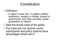 The Constitution Chapter 2. Constitution Definition –A Nation's with The Constitution Definition