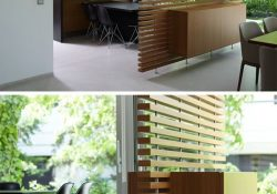 This Slatted Wooden Room Divider Has A Built-In Cabinet. | Todays regarding Room Separation Ideas